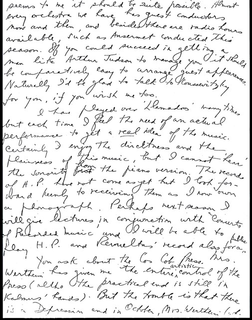 Letter from Aaron Copland to Carlos Chávez, December 31, 1934.