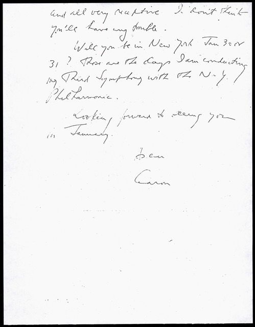 Letter from Aaron Copland to Carlos Chávez, December 6, 1957.