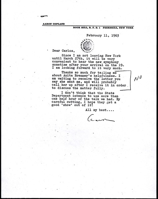 Letter from Aaron Copland to Carlos Chávez, February 11, 1963.