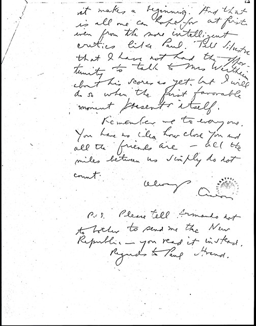 Letter from Aaron Copland to Carlos Chávez, February 2, 1933.