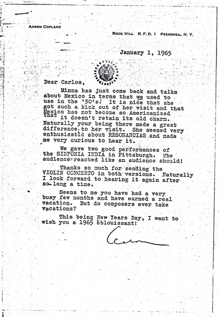 Letter from Aaron Copland to Carlos Chávez, January 1, 1965.