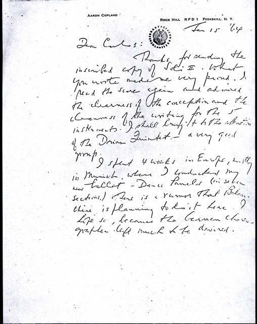 Letter from Aaron Copland to Carlos Chávez, January 15, 1964.