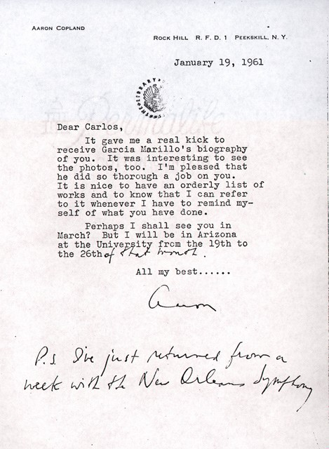 Letter from Aaron Copland to Carlos Chávez, January 19, 1961.