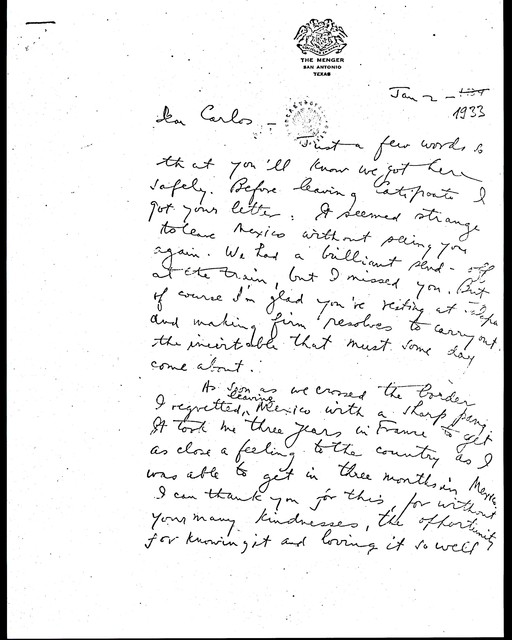 Letter from Aaron Copland to Carlos Chávez, January 2, 1933.