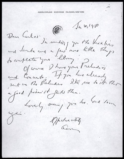 Letter from Aaron Copland to Carlos Chávez, January 20, 1950.