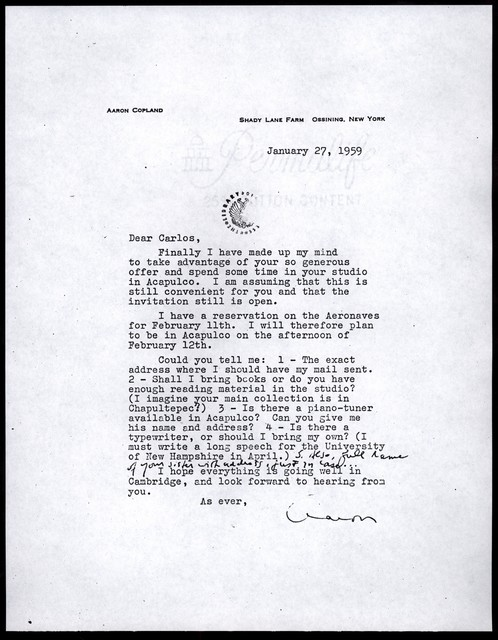 Letter from Aaron Copland to Carlos Chávez, January 27, 1959.