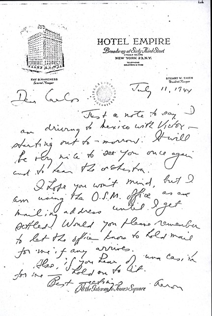 Letter from Aaron Copland to Carlos Chávez, July 11, 1944.
