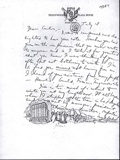 Letter from Aaron Copland to Carlos Chávez, July 18, 1928.