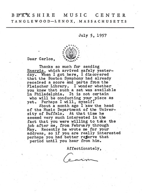 Letter from Aaron Copland to Carlos Chávez, July 5, 1957.