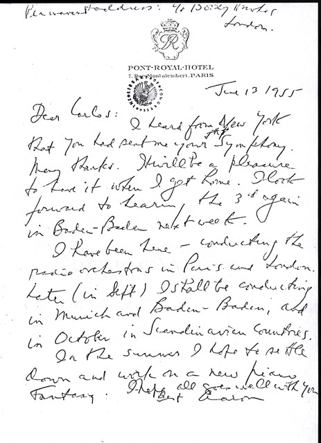 Letter from Aaron Copland to Carlos Chávez, June 13, 1955.