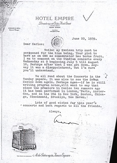 Letter from Aaron Copland to Carlos Chávez, June 20, 1939.