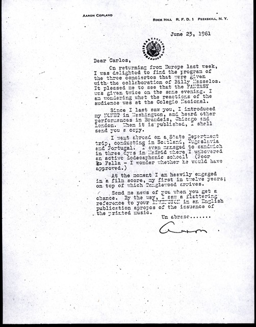 Letter from Aaron Copland to Carlos Chávez, June 23, 1961.