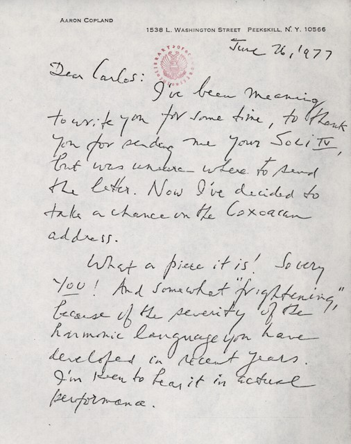 Letter from Aaron Copland to Carlos Chávez, June 26, 1977.