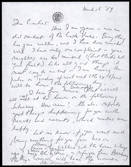 Letter from Aaron Copland to Carlos Chávez, March 16, 1959.