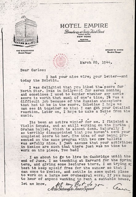 Letter from Aaron Copland to Carlos Chávez, March 28, 1944.