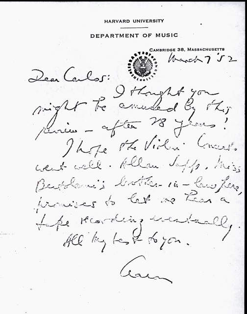 Letter from Aaron Copland to Carlos Chávez, March 7, 1952.
