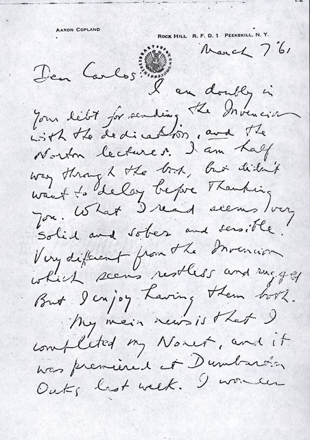 Letter from Aaron Copland to Carlos Chávez, March 7, 1961.