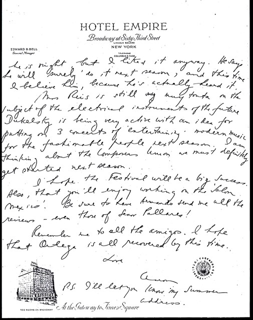 Letter from Aaron Copland to Carlos Chávez, May 18, 1937.