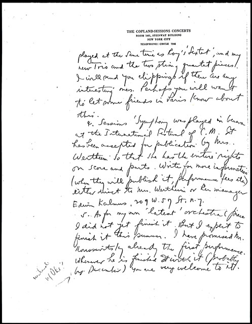 Letter from Aaron Copland to Carlos Chávez, May 28, 1929.
