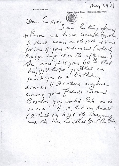Letter from Aaron Copland to Carlos Chávez, May 29, 1959.