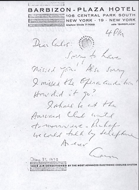 Letter from Aaron Copland to Carlos Chávez, May 31, 1973.