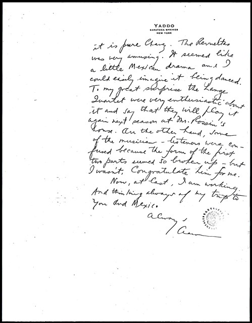 Letter from Aaron Copland to Carlos Chávez, May 8, 1932.