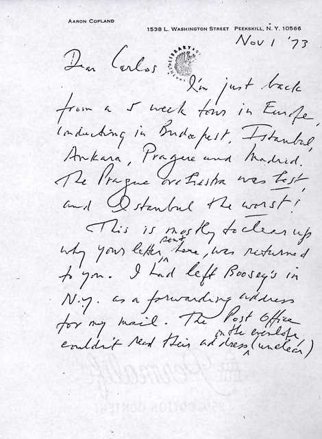 Letter from Aaron Copland to Carlos Chávez, November 1, 1973.
