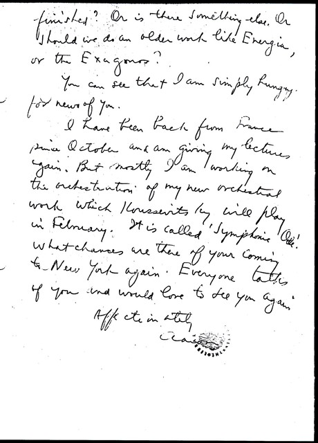 Letter from Aaron Copland to Carlos Chávez, November 18, 1929.