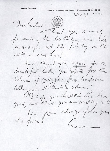 Letter from Aaron Copland to Carlos Chávez, November 26, 1970.
