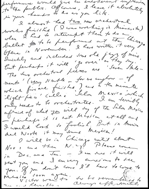 Letter from Aaron Copland to Carlos Chávez, October 15, 1934.