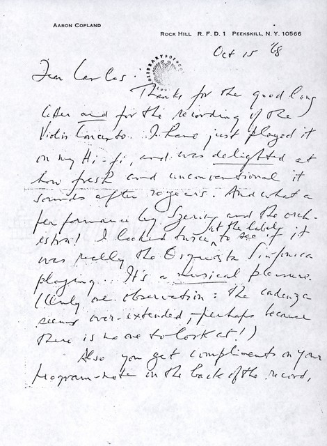 Letter from Aaron Copland to Carlos Chávez, October 15, 1968.