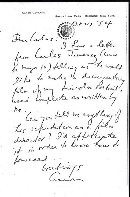 Letter from Aaron Copland to Carlos Chávez, October 27, 1954.