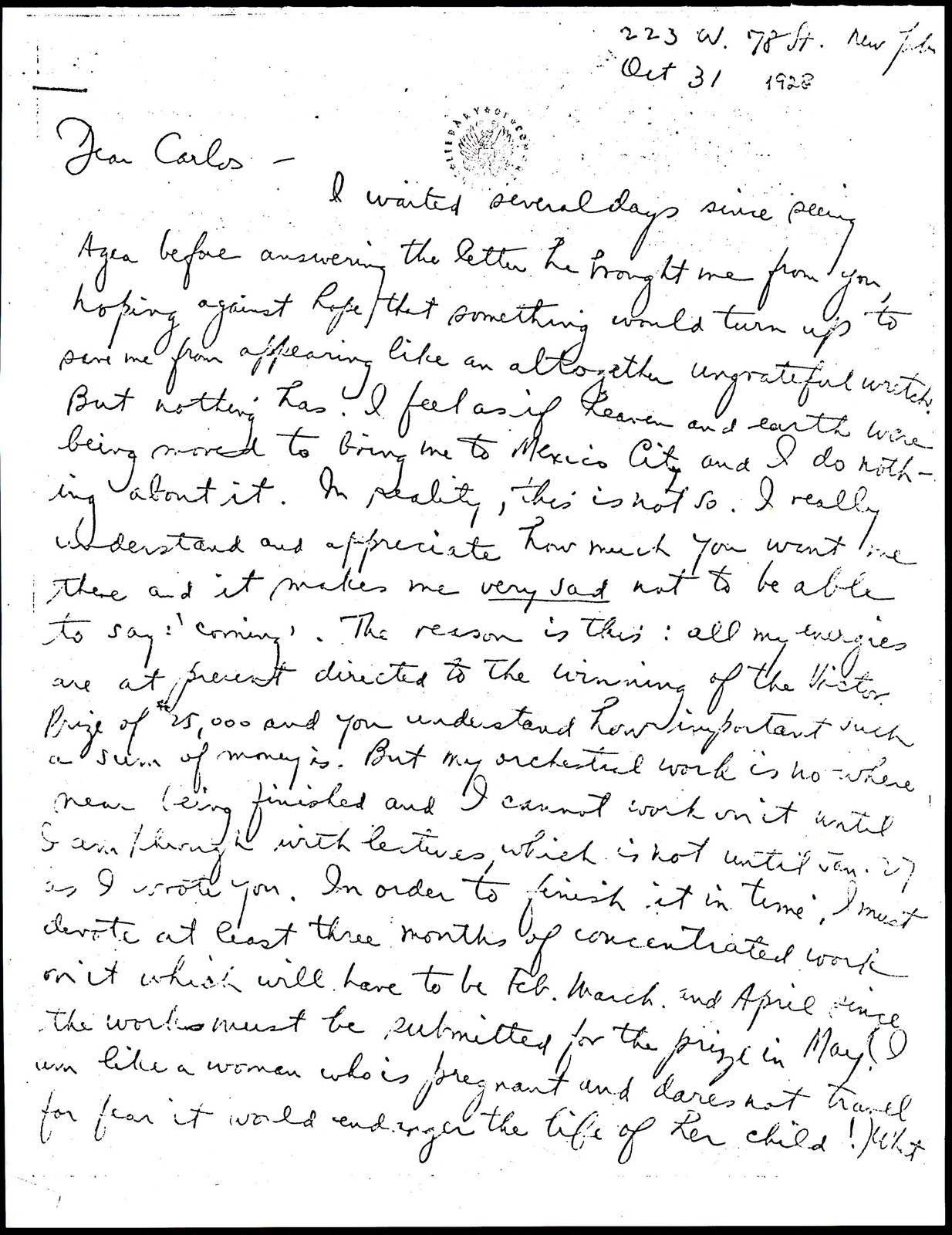 Letter from Aaron Copland to Carlos Chávez, October 31, 1928.