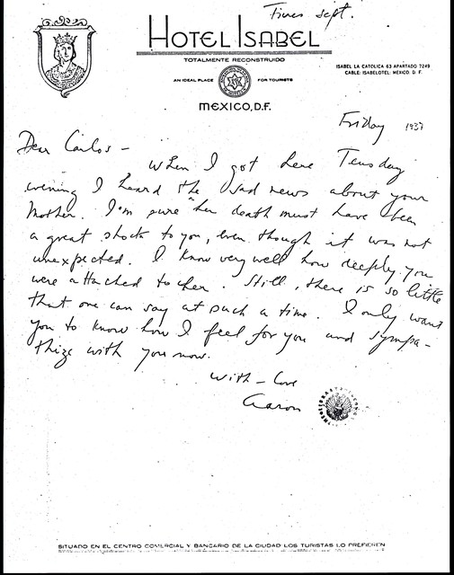 Letter from Aaron Copland to Carlos Chávez, September 1937.