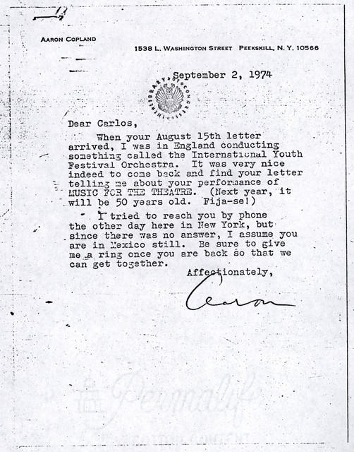 Letter from Aaron Copland to Carlos Chávez, September 2, 1974.