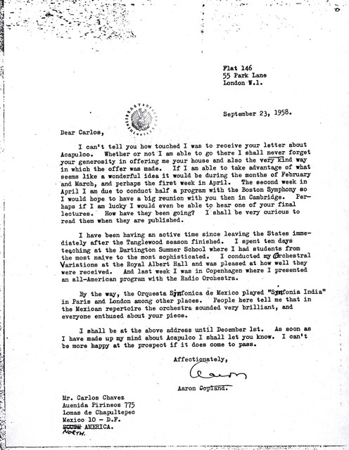 Letter from Aaron Copland to Carlos Chávez, September 23, 1958.