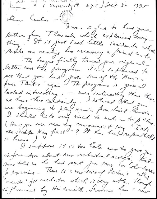 Letter from Aaron Copland to Carlos Chávez, September 30, 1935.