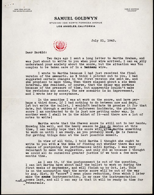 Letter from Aaron Copland to Harold Spivacke, July 21, 1943.
