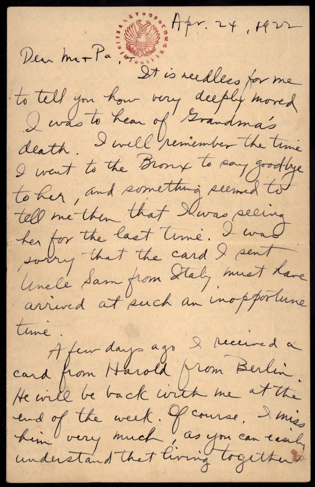 Letter from Aaron Copland to his family, April 24, 1922.