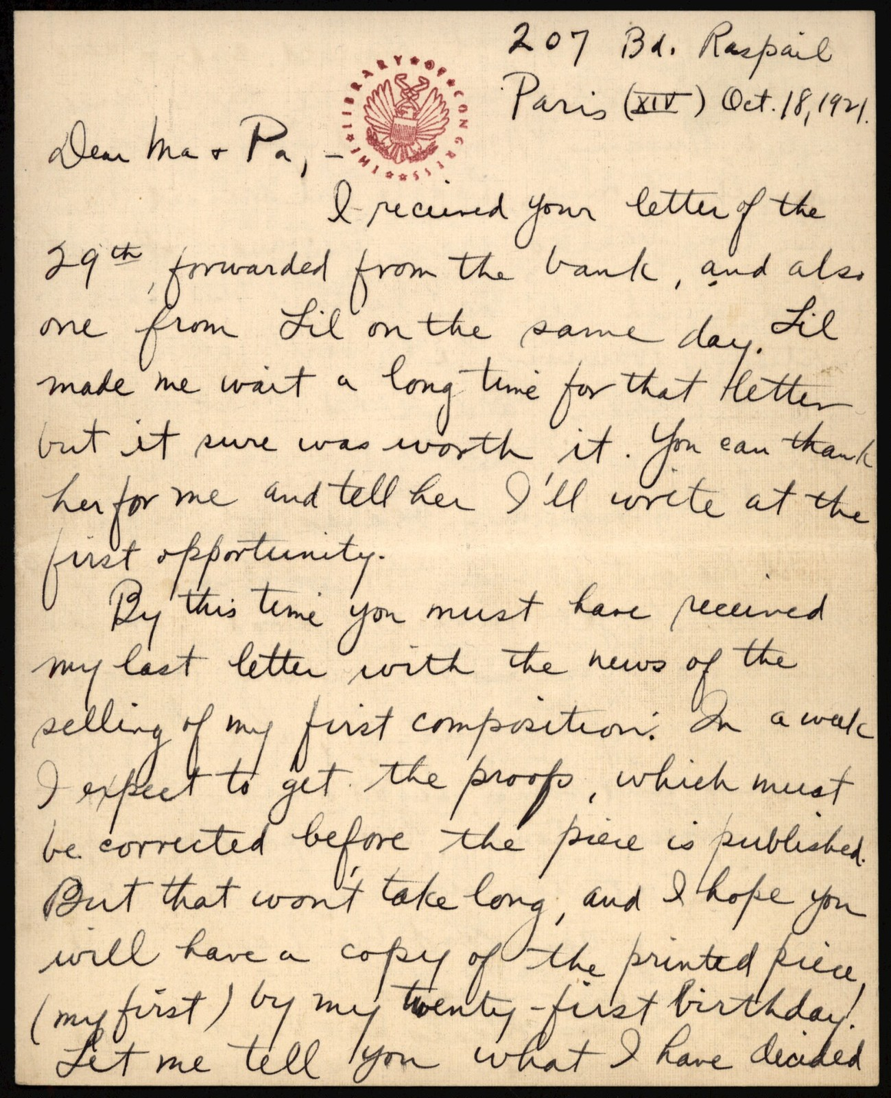 Letter from Aaron Copland to his family, October 18, 1921.