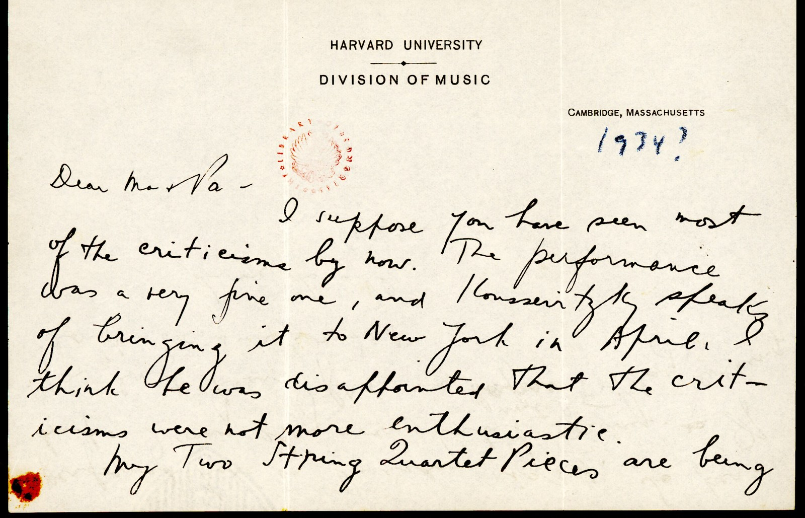Letter from Aaron Copland to his parents, 1934.