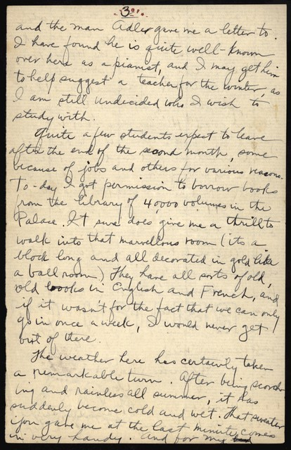 Letter from Aaron Copland to his parents, August 16, 1921.