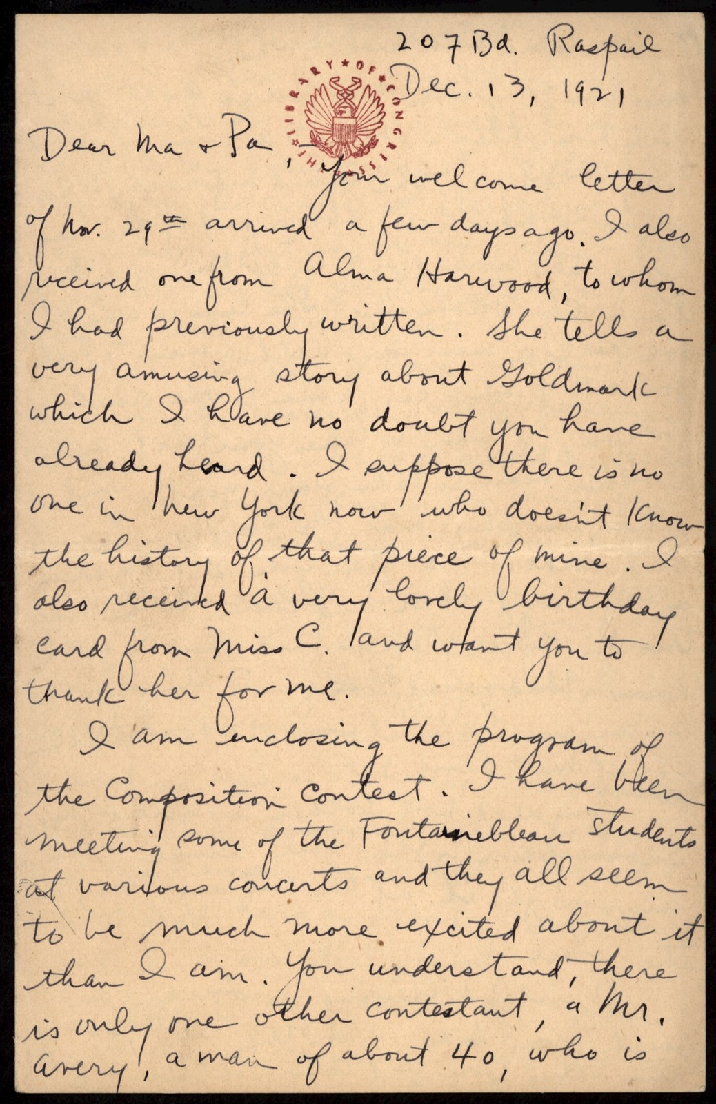 Letter from Aaron Copland to his parents, December 13, 1921.