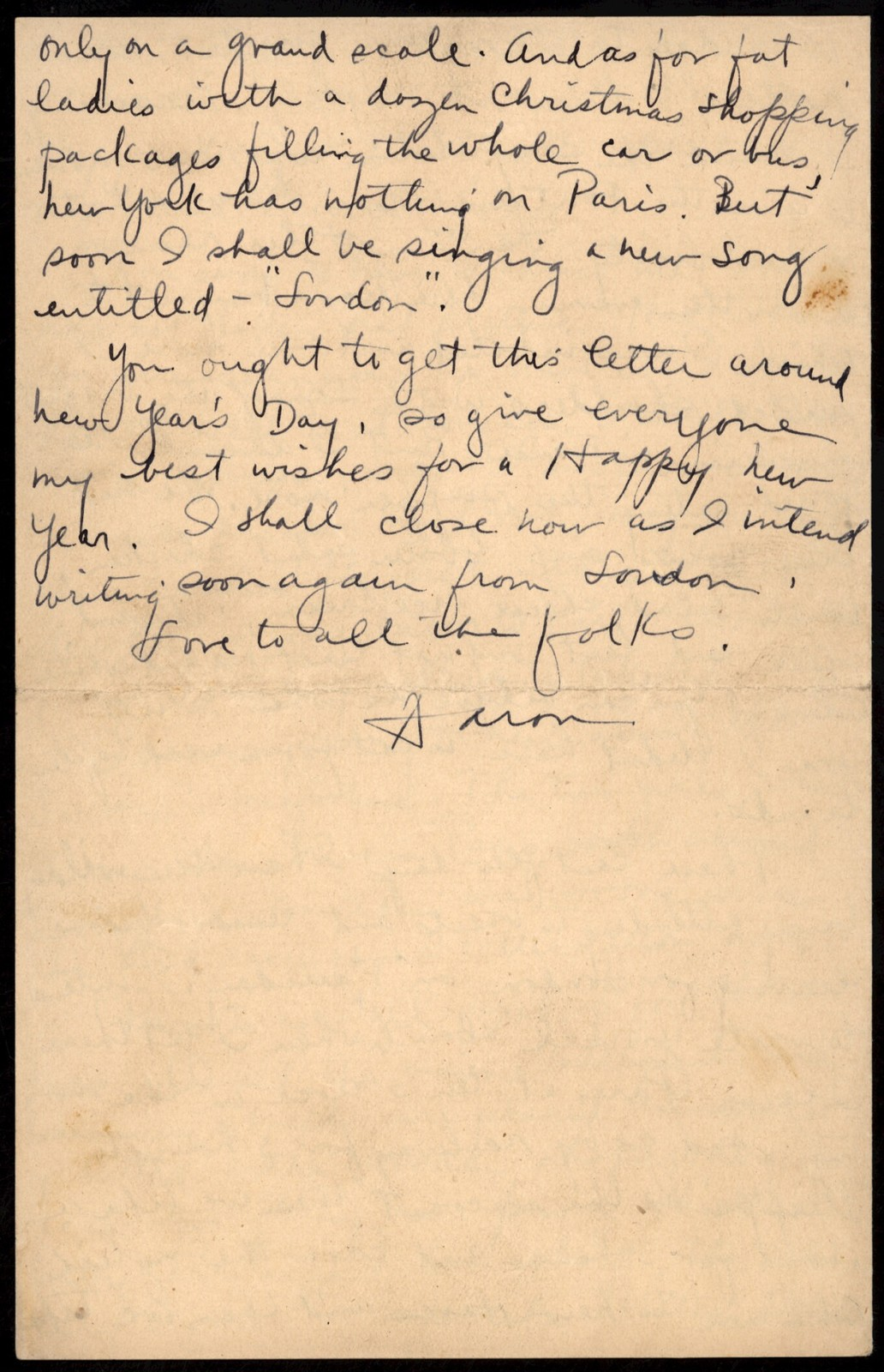Letter from Aaron Copland to his parents, December 18, 1921.