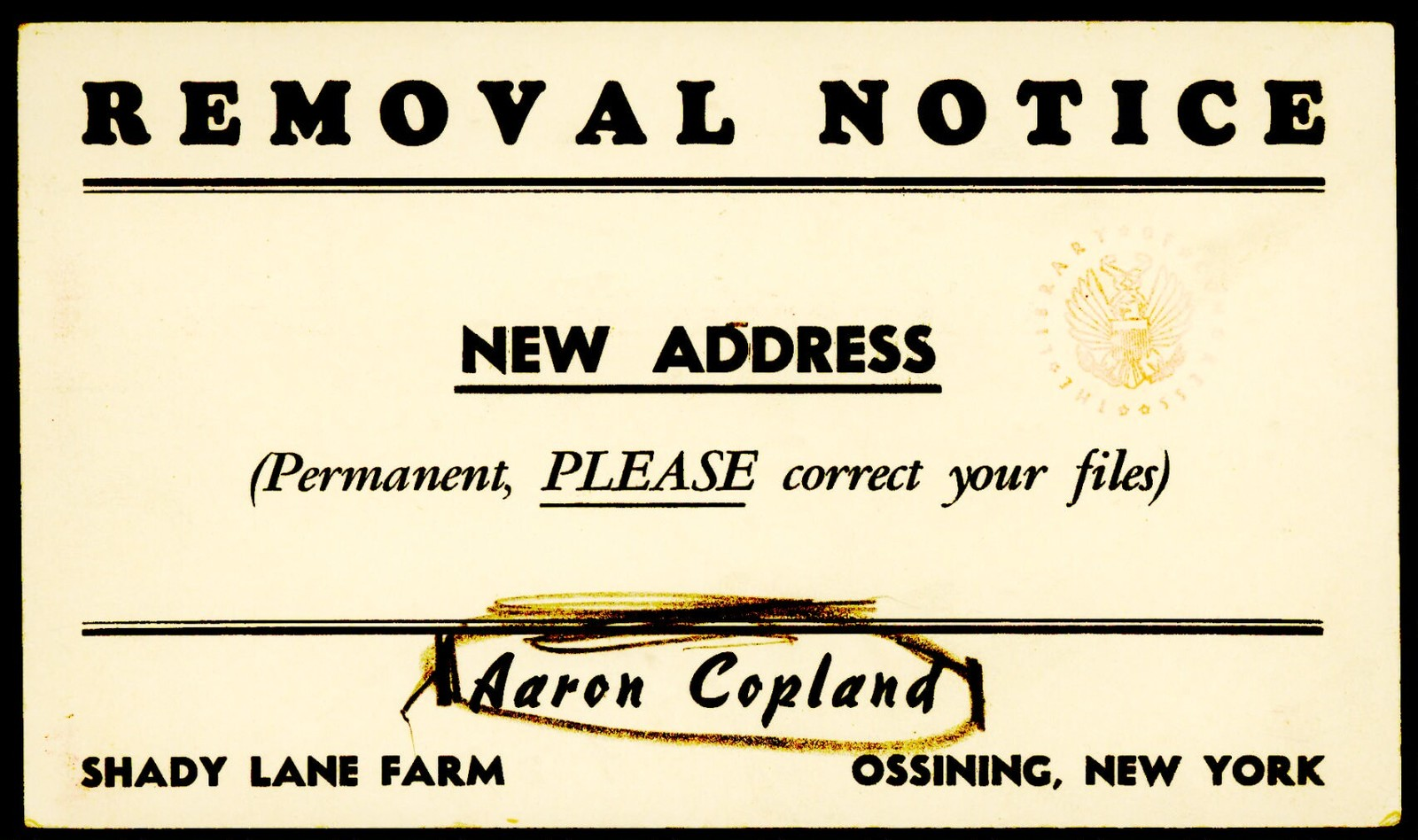 Letter from Aaron Copland to Irving and Verna Fine, November 29, 1952.