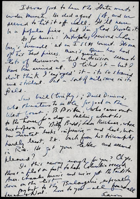 Letter from Aaron Copland to Irving and Verna Fine, November 30, 1949.