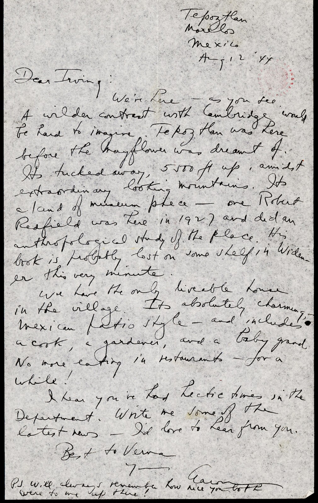 Letter from Aaron Copland to Irving Fine, August 12, 1944.