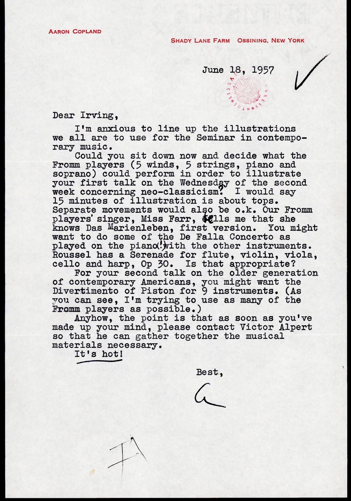 Letter from Aaron Copland to Irving Fine, June 18, 1957.