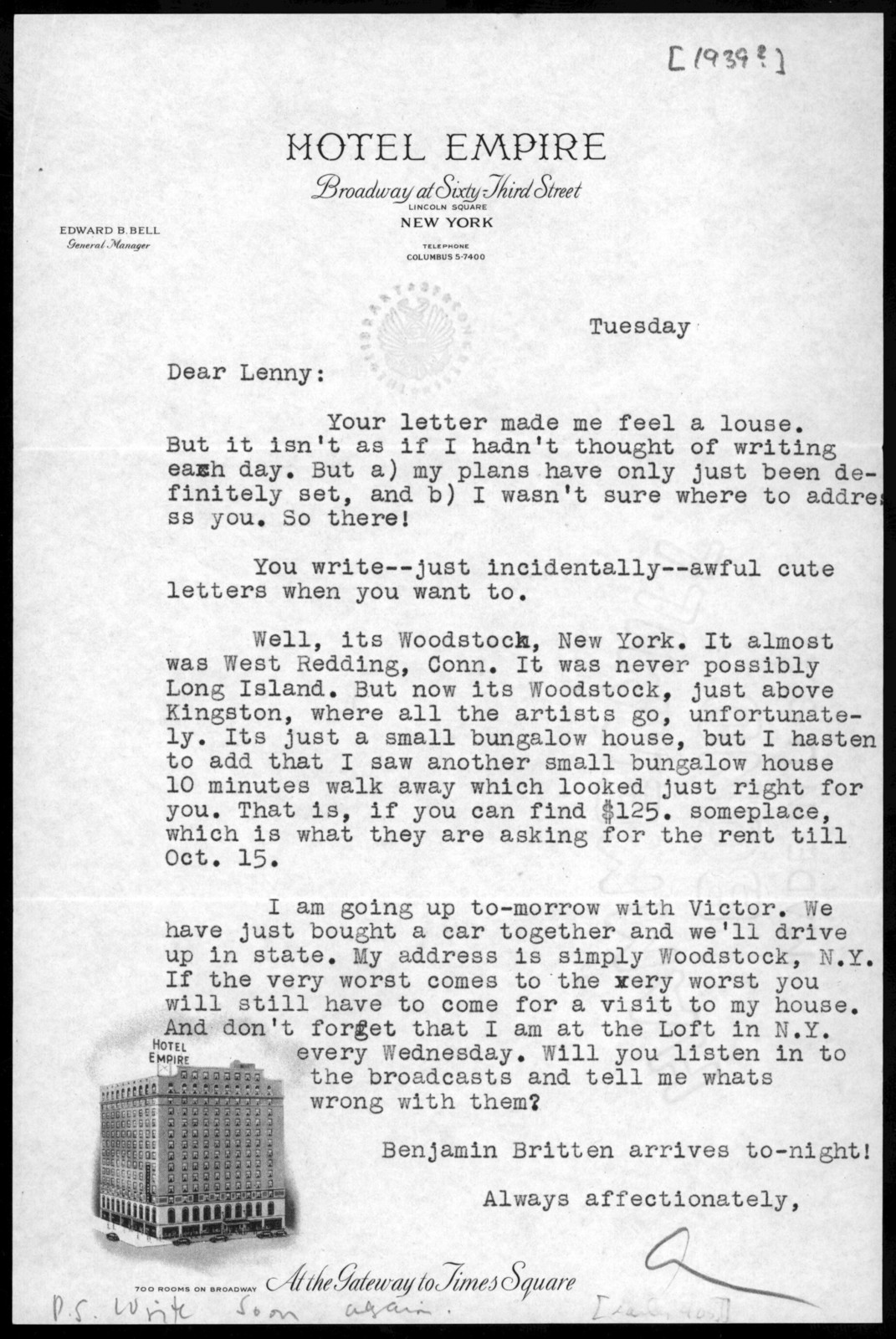 Letter from Aaron Copland to Leonard Bernstein, 1939