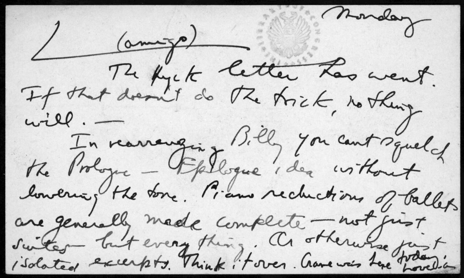 Letter from Aaron Copland to Leonard Bernstein, 1941